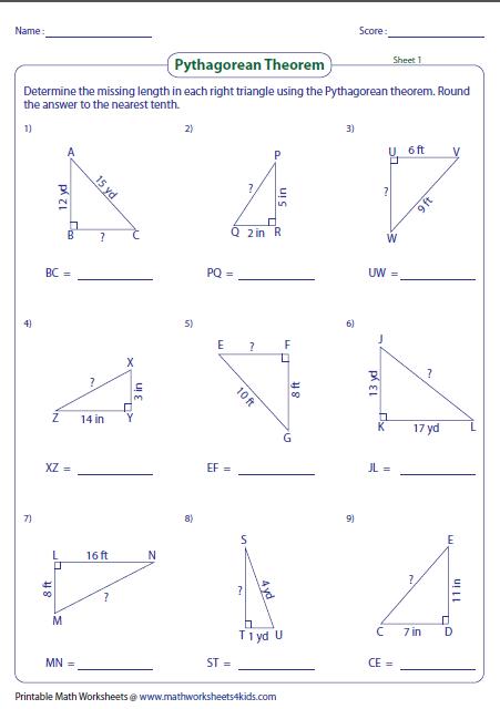 Pythagorean Theorem Worksheet Pythagorean Theorem Worksheet