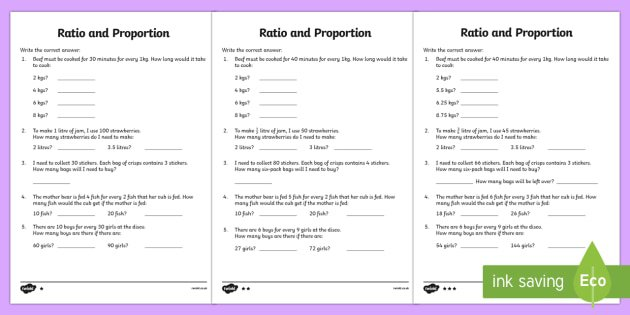 Ratio And Proportion Differentiated Worksheet 2