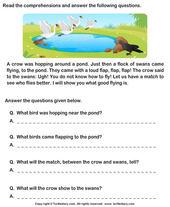 Reading Comprehension Crow Worksheet