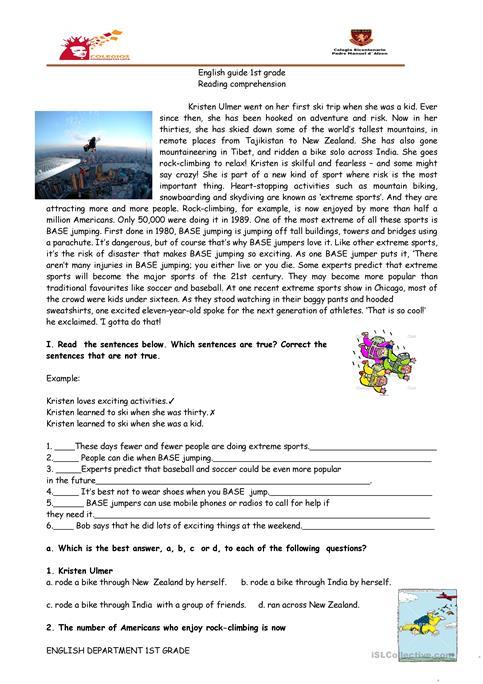 Reading Comprehension Sports, Base Jumping Worksheet
