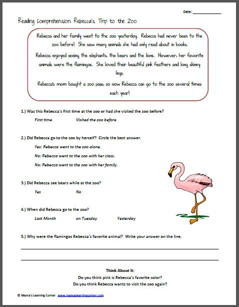 Reading Comprehension Worksheets Kids Worksheets For All