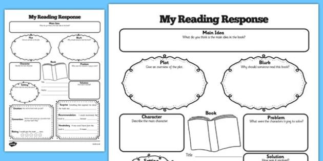 Reading Response Graphic Organiser Worksheet