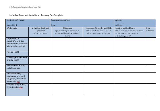 Recovery Planning Worksheet And Template