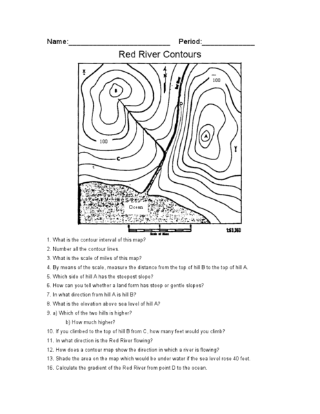 Red River Contours Worksheets Answers