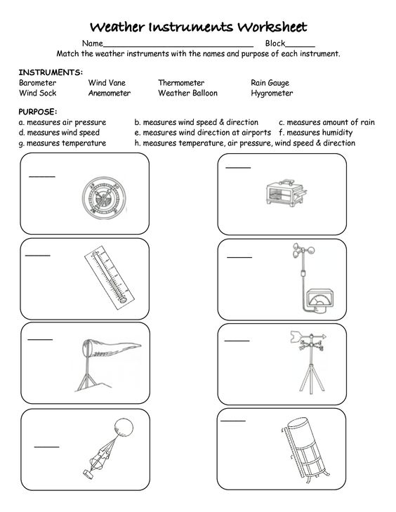 Remarkable Worksheets Weather Instruments For Your Weather