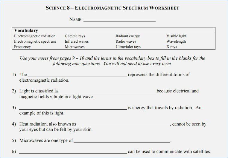 Science 8 Electromagnetic Spectrum Worksheet Answers – Careless Me