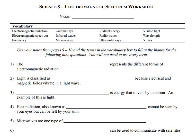 Science 8 Electromagnetic Spectrum Worksheet Blog Posts Equality