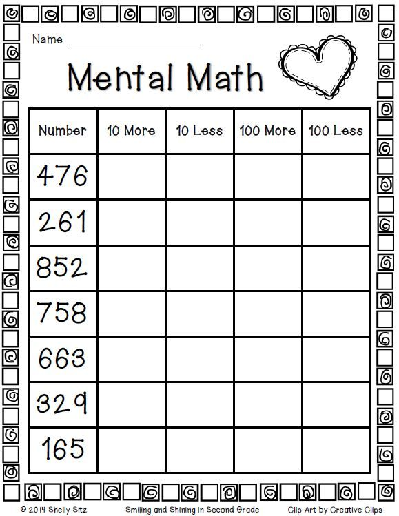Second Grade Mental Math Freebie…click On The Word  Here