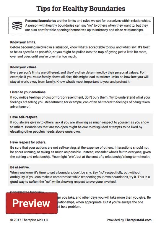 Setting Boundaries Worksheet Healthy Boundaries Tips Worksheet