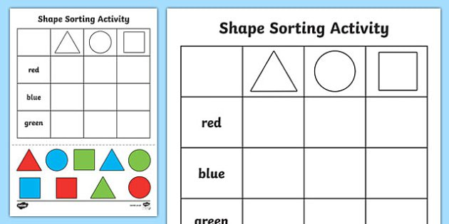 Shape Sorting Cut And Paste Worksheet   Activity Sheet