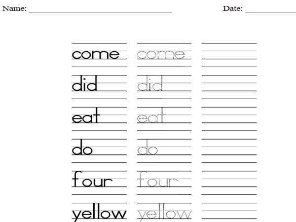 Sight Words Tracing Worksheets For Kindergarten Worksheets For All
