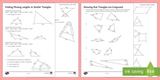 Similarity And Congruence Worksheet   Activity Sheets