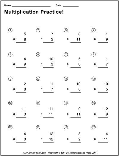Simple Multiplication Worksheets Printable Pdf Basic