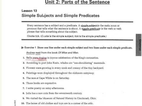 Simple Subject And Predicate Worksheet 3