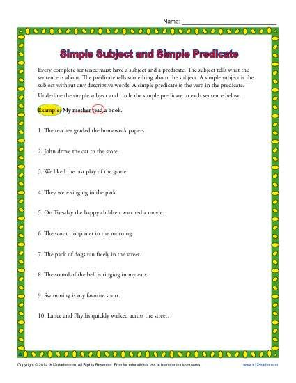 Simple Subject And Simple Predicate