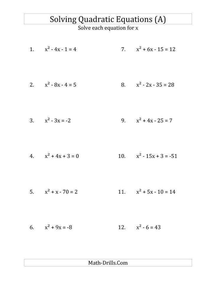 Solving Quadratic Equations By Factoring Worksheet Solving