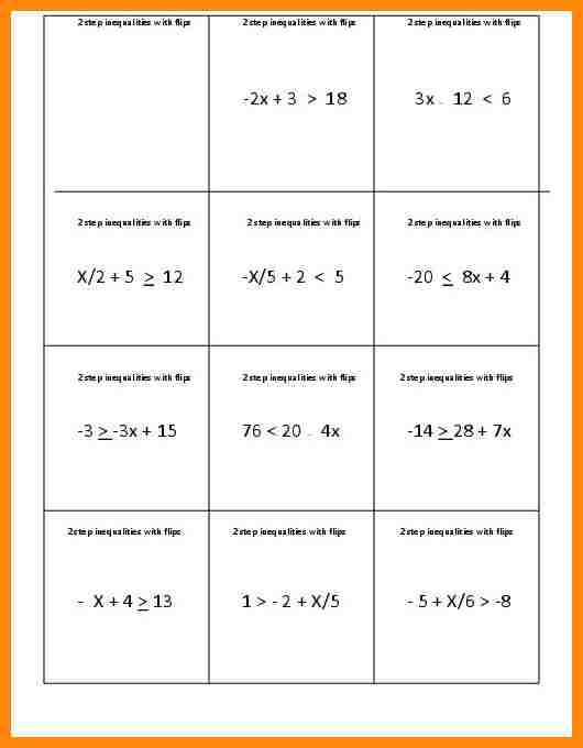 Solving Two Step Inequalities Worksheet Worksheets For All
