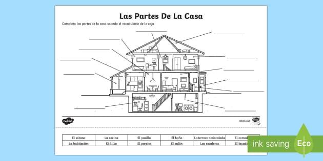 Spanish Parts Of A House Worksheet   Activity Sheet , Worksheet
