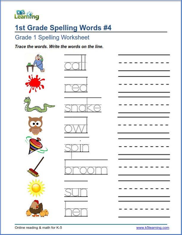 Spelling Worksheets First Grade Spelling Worksheets K5 Learning