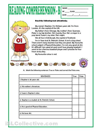 Sports Reading Comprehension Worksheets Worksheets For All