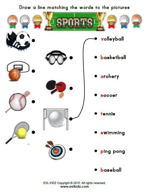 Sports Worksheets For Elementary