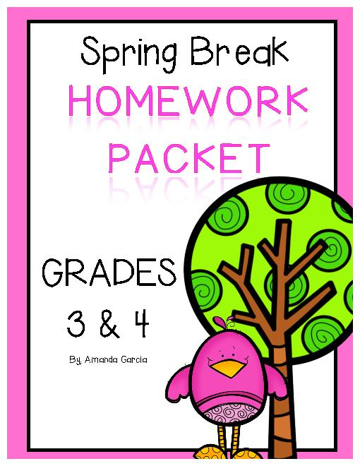 Spring Break Homework Packet For 3rd And 4th Grades