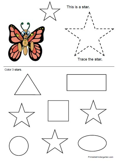 Star Worksheets For Preschoolers Worksheets For All