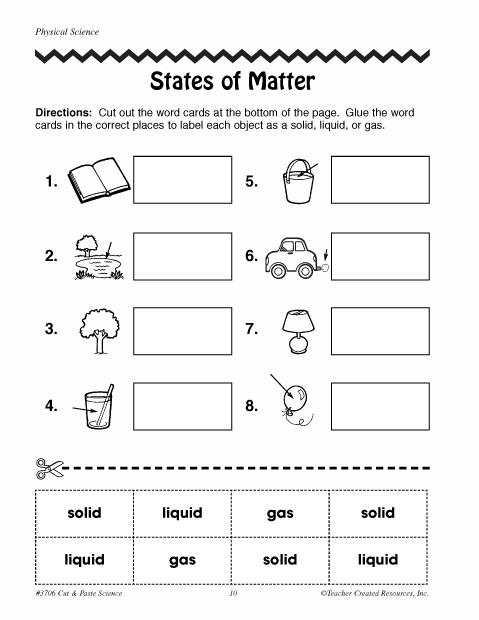 States Of Matter Worksheets For Kids Worksheets For All