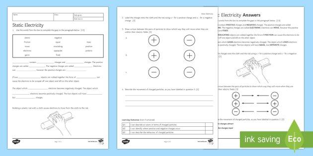 Static Electricity Homework Worksheet   Activity Sheet