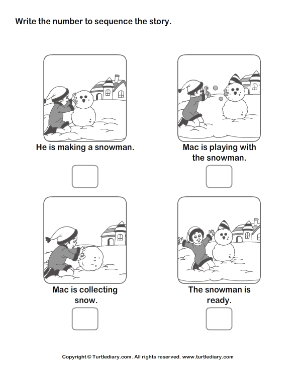 Story Sequencing Mac And Snowman Worksheet