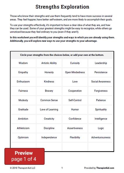 Strengths Exploration (worksheet)