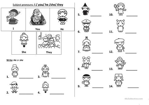 Subject Pronouns Worksheet