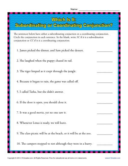 Subordinating Or Coordinating Conjunctions