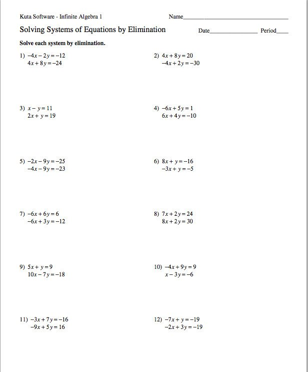 Substitution Method Worksheet