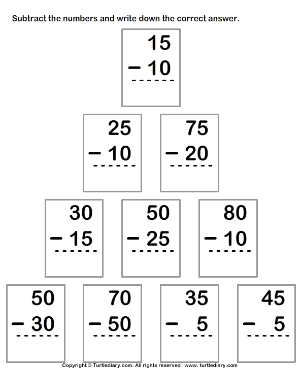 Subtract Numbers Up To Two Digits From Two Digit Numbers Worksheet