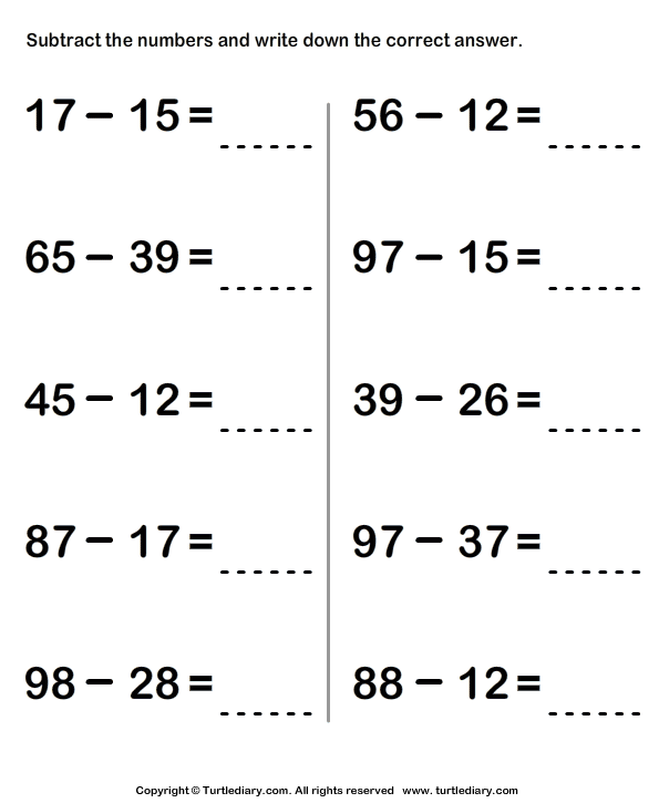 Subtracting Numbers Within Hundred Worksheet