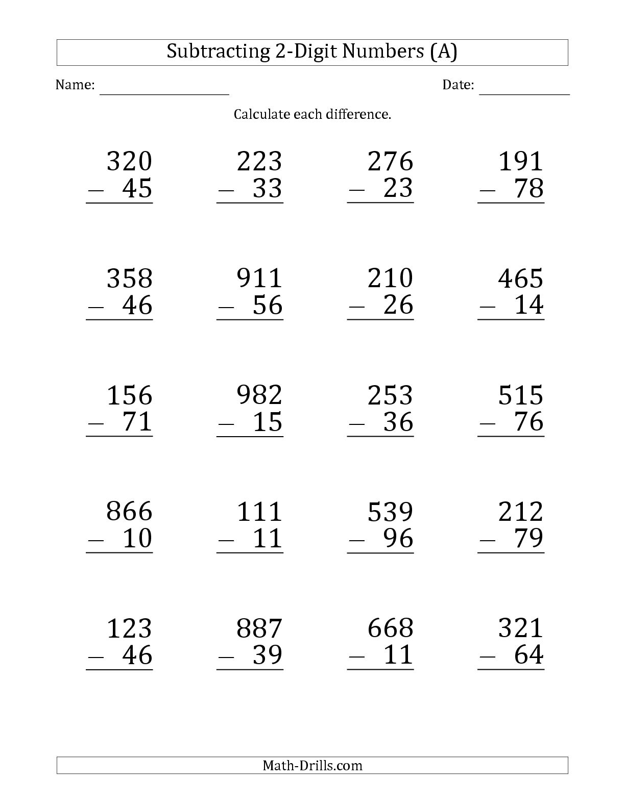 Subtracting Two Digit Numbers With Regrouping Powerpoint Without