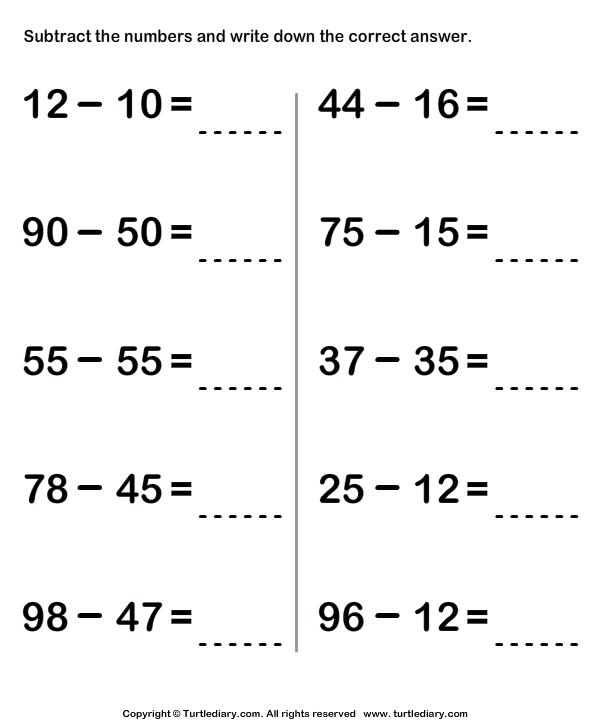 Subtracting Two Two Digit Numbers Worksheet