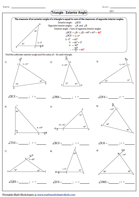 Sum Of Interior And Exterior Angles Of A Triangle Worksheet
