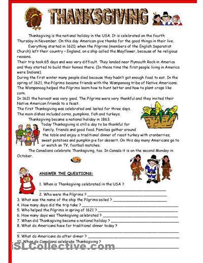 Thanksgiving Worksheets High School