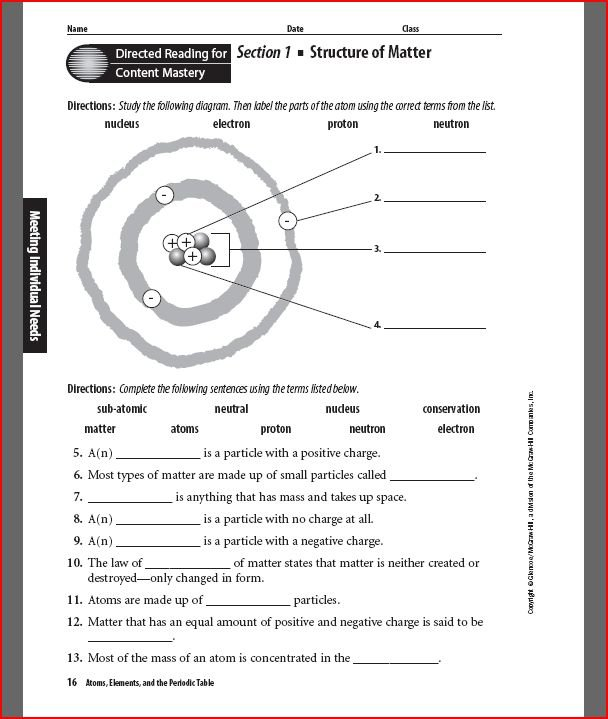 The Structure Of Atoms Worksheet Worksheets For All