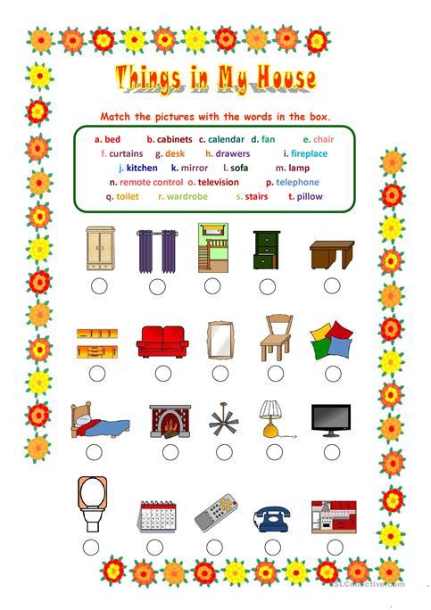 Things In My House Worksheet