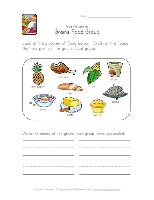 This Simple Food Worksheet Is Perfect For Any Food Or Grains Food