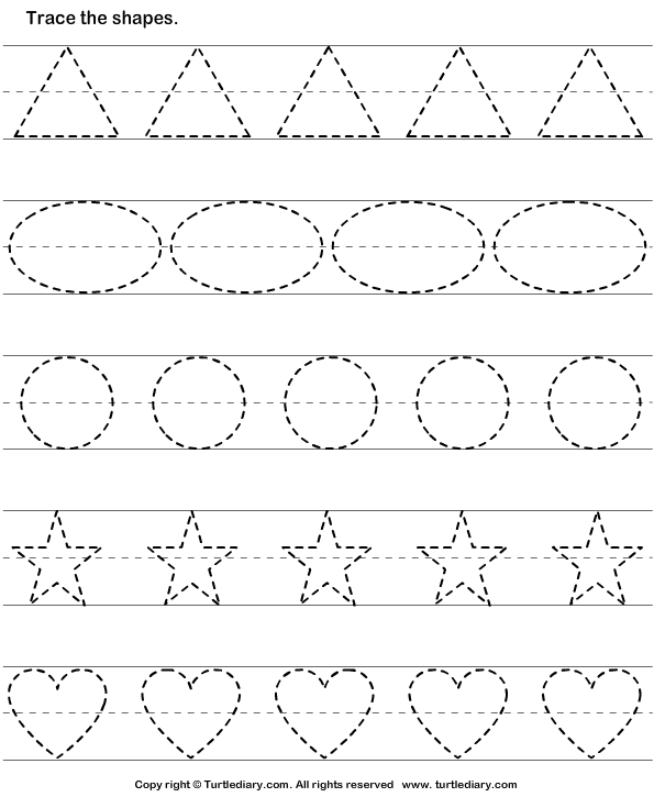 Tracing Worksheets Tracing Basic Shapes Worksheet Turtle Diary