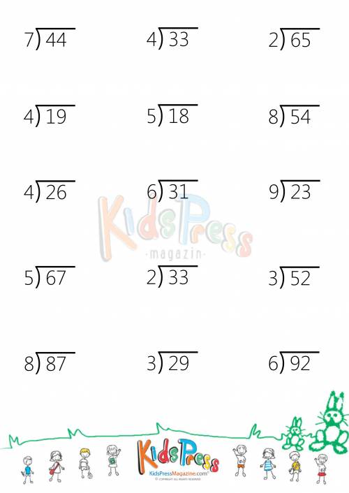 Two Digit By One Digit Division With Remainders