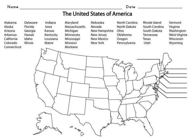United States Of America Name The State Worksheet Worksheets For