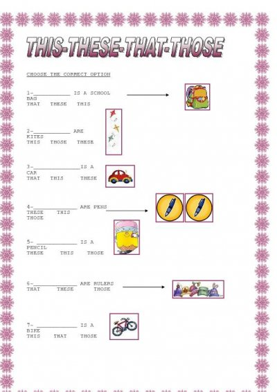 Use Of This And That Worksheet For Kids