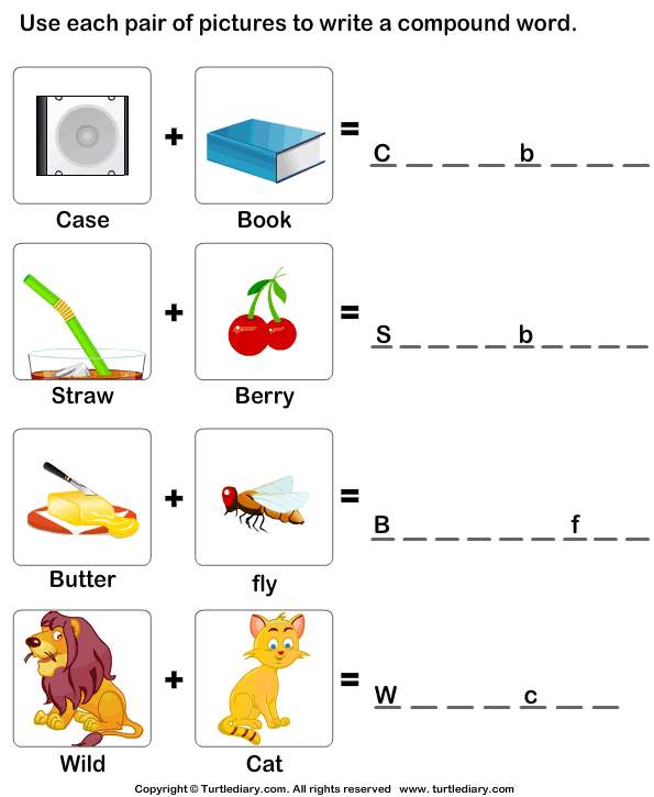 Use Pictures To Make Compound Words Worksheet