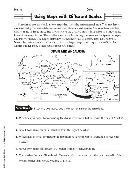 Using Map Scale Worksheets Worksheets For All