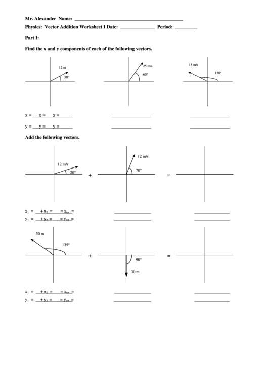 Vector Addition Worksheets With Answers Worksheets For All